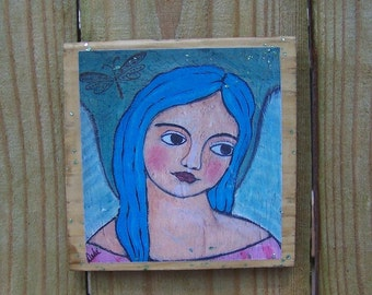 "Encaustic folk Art Angel Reproduction Mounted on Wood Block (5.5"" x 5.5"" inches print)"