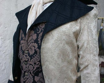 Gold Tapestry Cloth and Black Quilted Silk  Steampunk Frock Cutaway Wedding Coat
