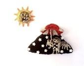 Night owl brooch and sun brooch, humorous unusual animal jewelry