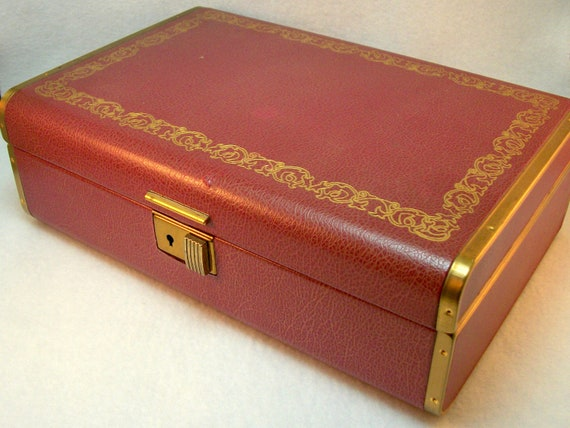 vintage farrington jewelry box burgundy and gold by