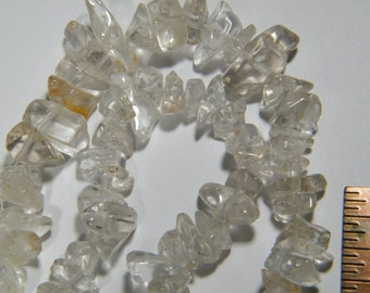 15 inch strand natural Clear Quartz medium to large chip/nugget beads, supplies