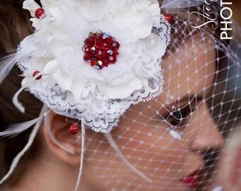 Romance in Bloom- Sculpted Vintage Lace Flower-Chenille Dot Birdcage Bridal Veil-Fascinator-CRBoggs Designs Original