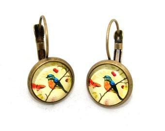 Blue Bird Earrings, Illustration Jewelry, Dangle Earrings