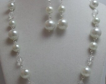 Shell Pearl and Crystal  Necklace and Earrings Set for the Bride