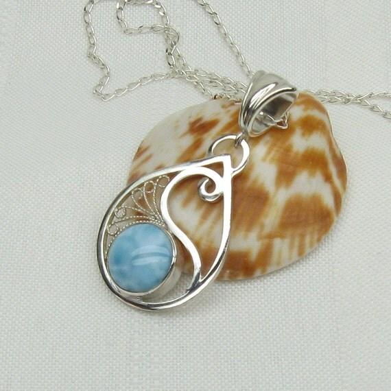 Larimar -Filigree - Larimar Necklace - Larimar Pendant - Larimar Jewelry