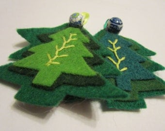 SALE 2 Felt tree decorations not just for Christmas with flower and oriental beads SALE