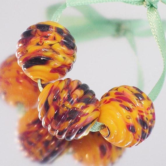 Yellow Trio - Handmade glass art lampwork beads- SRA FHF