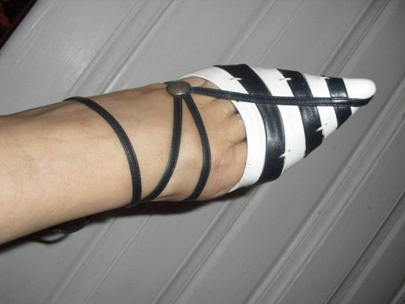 RARE Vintage 80's Designer Giorgio Armani High Heels Strappy Womans Shoes Blue/White