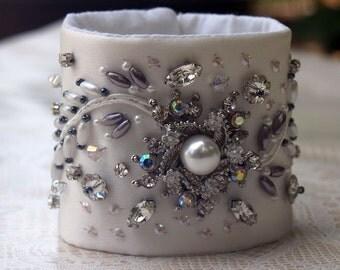 Wedding Bridal Wrist Cuff Bracelet - Satin, Pearls, Swarovski Crystals, Silver Elegance (BRIDAL102)