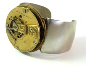Steampunk Large Cuff Bracelet Vintage Waltham Pocket Watch Movement Unisex Exclusive Design By Mystic Pieces