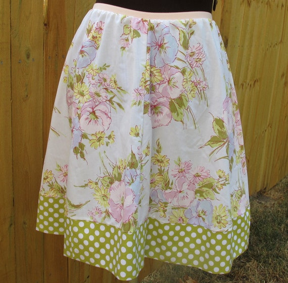 Sweet Four Panel A-line Skirt for Women - Upcycled & Vintage Fabrics - Size Medium