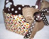 Fall Leaves Print Fabric Basket Organizer Bin Storage Container