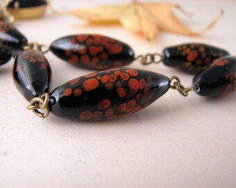 Black and red Halloween necklace with vintage lampwork glass beads