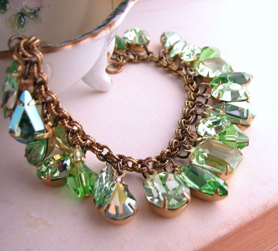 charm bracelet with vintage mint green rhinestones