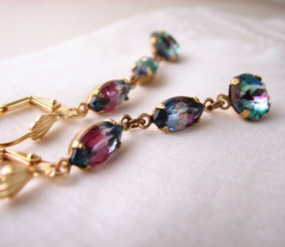 Rainbow earrings with vintage Iris rhinestones