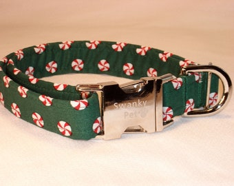 Peppermint Patty Christmas Dog Collar by Swankypet
