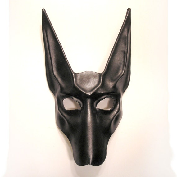 Black Jackal Leather Mask    Anubis Egypt Egyptian Dog