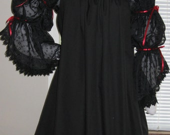 DDNJ Renaissance Victorian Vampire Goth Black 2Tier Chiffon Slv Chemise Plus Custom Made Your Measurements Anime Costume Steampunk  Medieval