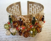 Cuff Bracelet embellished with vintage bling