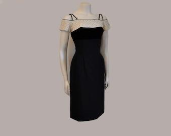 1950s dress / Jeweled Jezebel Vintage 50's Shelf Bust  Wiggle Dress
