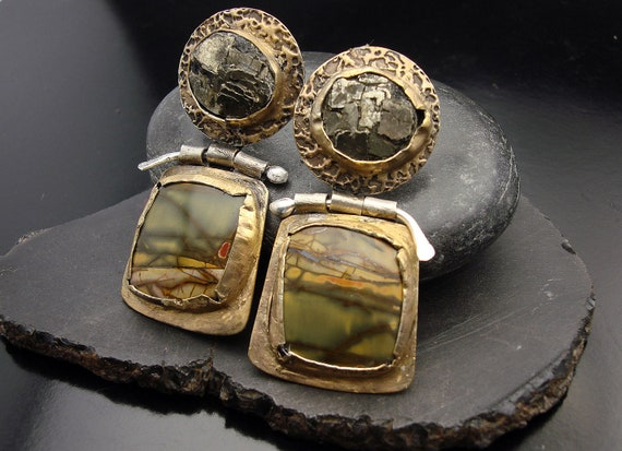 Midas Touch - Sterling Silver, Pyrite, Picasso Jasper, Accent Gold