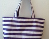 Beth's Large Purple Lovers Stripes Oilcloth Market Tote Bag