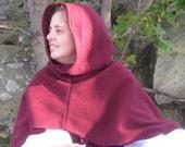 Burgandy Fleece Hood Mantle Ready to Go SCA Medieval Renaissance