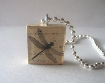 Pretty Dragonfly Scrabble Tile Necklace