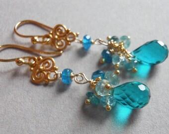 Apatite earrings, SKINNY DIP Teal quartz and apatite, dangle earrings, cluster earrings, gemstone earrings, gift idea
