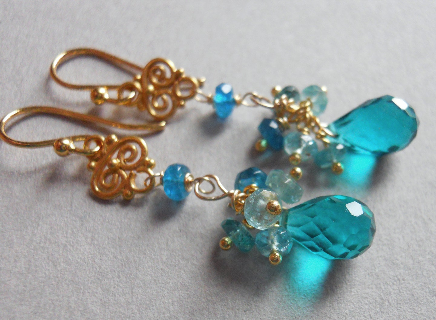 Skinny Dip Teal quartz and apatite dangle earrings - $55.00 USD