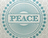 Holiday Cards Letterpress Christmas Set Six Silver Blue Letter Press Peace Snowflake Greeting