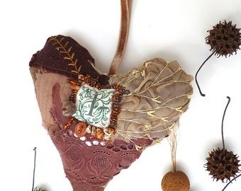 Brown heart IV large heart fiber art ornament, featured in Sew Somerset winter 2014, fiber collage, monogram, home decor, eco-friendly