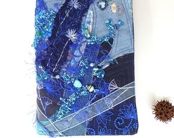 Blue fantasy fiber art collage blue journal / sketchbook, bead embroidery, bohemian, romantic diary, ooak