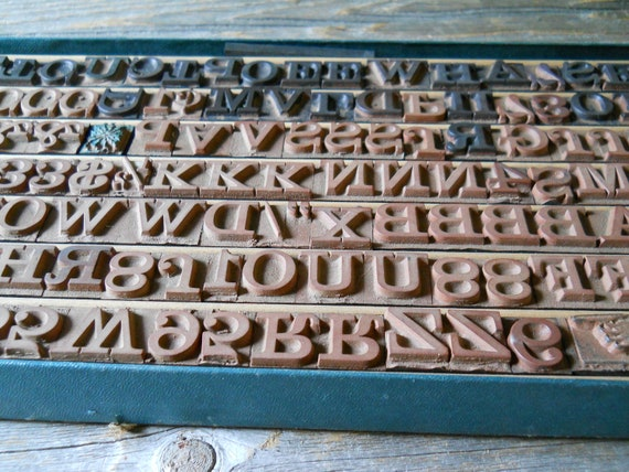 Rubber Type Stamp Set Vintage