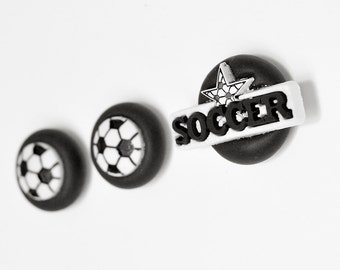 Soccer Ball Player Magnets Athlete's Gift Set of 3 in Black Polymer Clay Office, Kids Room Decoration or Home Decor