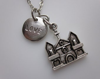 Wedding Bliss Church and Love Charm Necklace in Antique Silver Finish