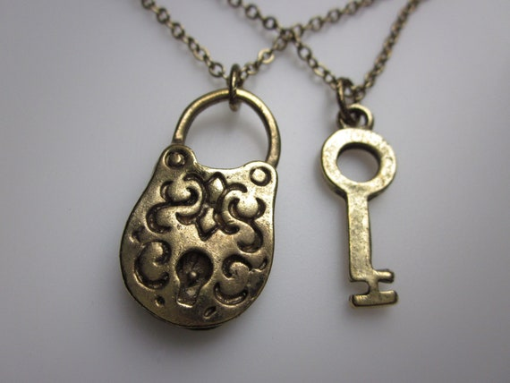 Lock and Key Necklace. Pair of His and Hers Couple Charm Necklaces