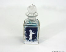 1910s Mary Gregory Glass Scent Perfume Bottle with Stopper Victorian