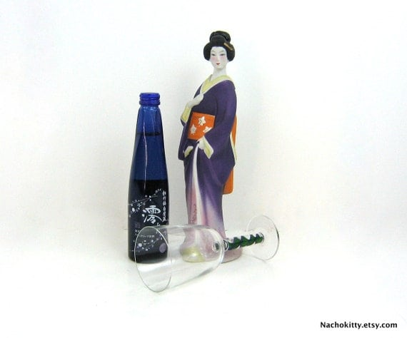Sake Decanter by House of Koshu Figural Geisha Girl in Purple