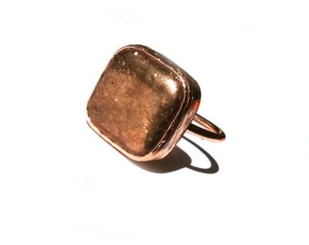 Golden Square Ring with Pyrite Stone
