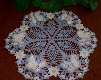 NEW Butterfly roses crochet doily to order choose color