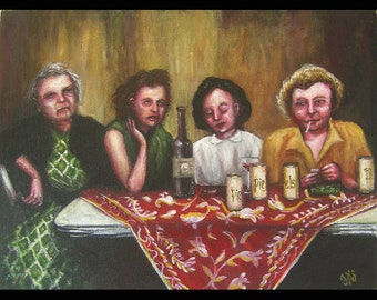 Ladies Night Original Painting, New Year's Eve, 1950s, 1960s, Nostalgia, Women Drinking, Cocktail Party, Red Tablecloth, Wine, Beer