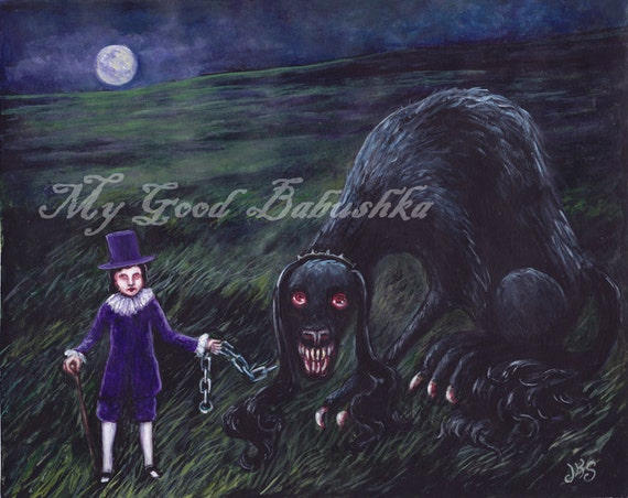 The Barghest, Original Art, Black Dog, Ghost Dog, Hound of the Baskervilles, Victorian Themed Art, Cryptozoology, Monster, Night, The Moors