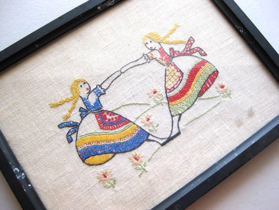 Vintage Primitive Framed Embroidery - Two Girls Dancing