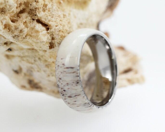 Deer Antler Wedding Band Titanium Ring Hunting Jewelry Gifts