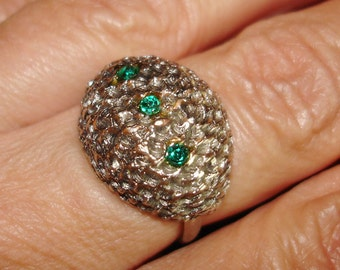 vintage pitted silver dome cocktail ring with 3 faux emeralds