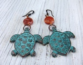 Turtle Earrings, Fire Agate, Patina Metal