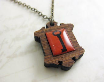 Red Skeleton Key Necklace in bamboo and resin - Illustration Jewelry - Victorian Frame pendant - Great Valentine's Day Gift