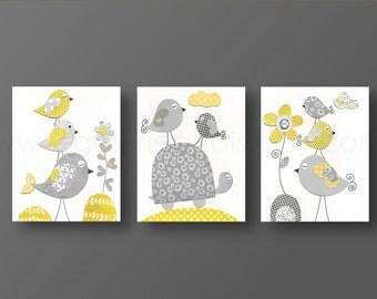 Girl Nursery Wall Art Nursery art baby nursery decor girl room Kids art children wall art yellow gray turtle bird Set of three prints