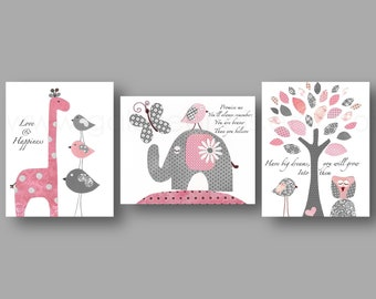 Promise me Have big dreams Nursery wall art baby nursery  giraffe elephant tree Birds owl pink gray Set of three prints
